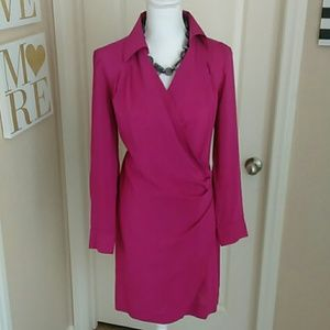 Pretty Fushia Silky Shirt Dress Sz 6